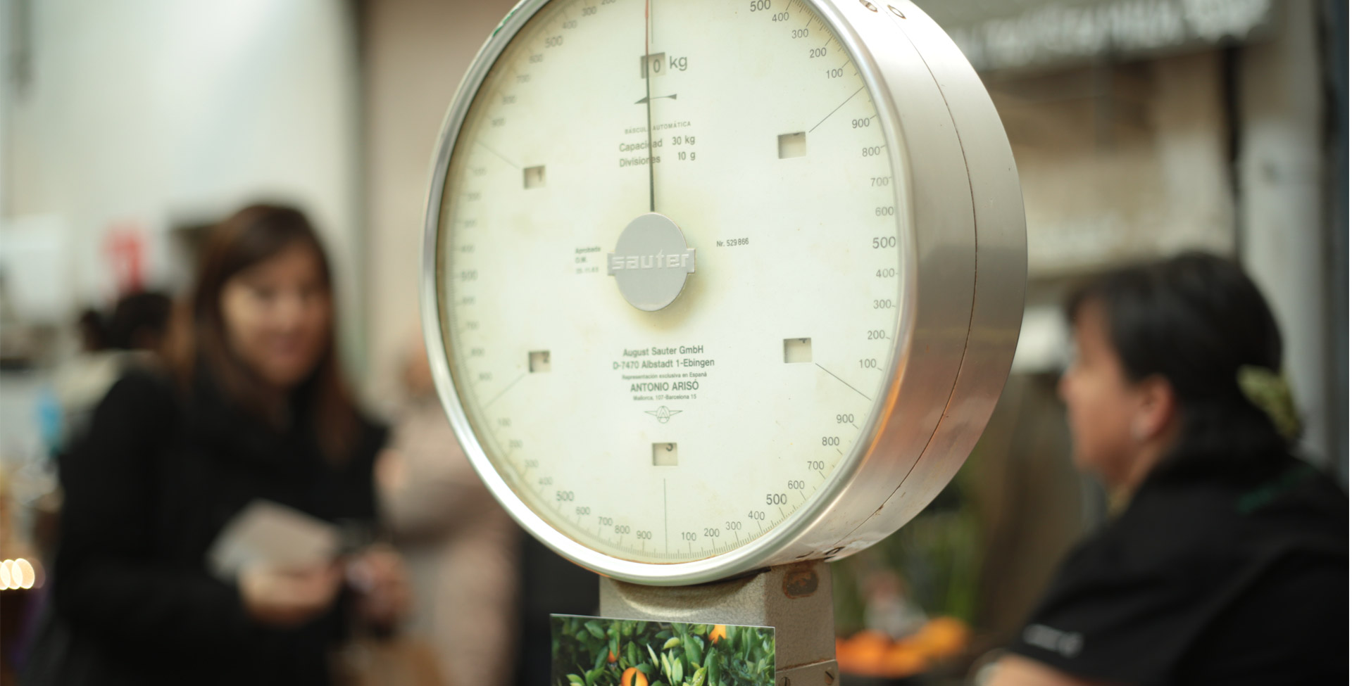 a food scale at a market