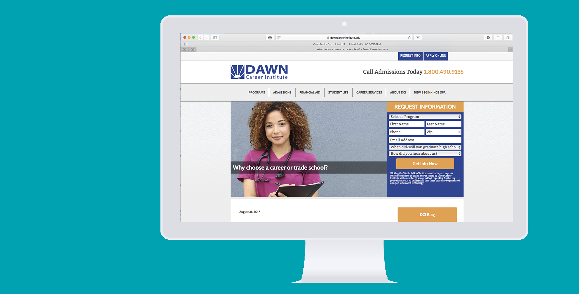 dawn career institute's website