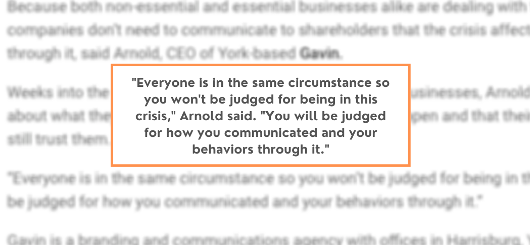 Gavin President/CEO Discusses Crisis Communications Planning with CPBJ